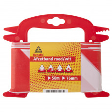 AFZETBAND ROOD/WIT HASPEL 25 METER