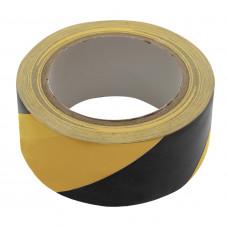 PVC VLOERMARKERINGSTAPE GEEL/ZWART 50 MM X 33 METER