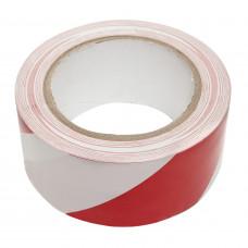 PVC VLOERMARKERINGSTAPE ROOD/WIT 50 MM X 33 METER
